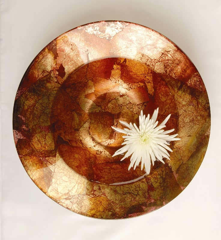 White Flower Copper Bowl Sunshine